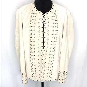 Chico's beige suede leather jacket w/ scallop edge
